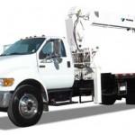 Small stiff boom crane truck
